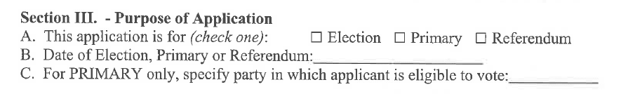 Section 3 Purpose of application