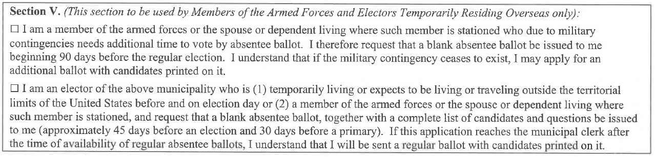 Section 5 for members of armed forces or temporarily residing overseas